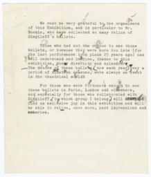 Typed Speech Script for Diaghilev Exhibition with Holograph Corrections