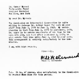 Letter from Will W. Alexand...