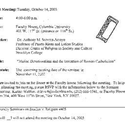 Announcements, 2003-10-03. ...