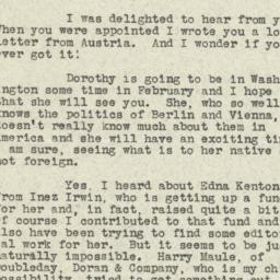 Letter from Sinclair Lewis ...
