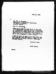 Letter from Gunnar Myrdal to Will W. Alexander, June 13, 1939