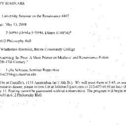 Announcements, 2008-05-13. ...