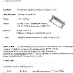 Announcements, 2004-04-19. ...