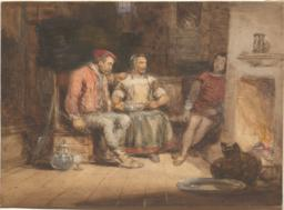 Peasant Couple with Sleeping Youth Before Fireplace