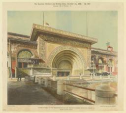 Eastern entrance to the Transportation Building, World's Columbian Exhibition, Chicago, Ill. Adler & Sullivan, Architects