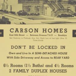 Carson Homes, E. 54 Street ...