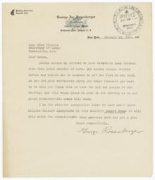Letter from George Rosenberger to Secretary of Labor Frances Perkins about Emma Goldman