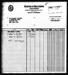 Royalty statement from Harper & Brothers to Richard Sterner for THE NEGRO'S SHARE, December 31, 1949