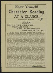 Character reading at a glance / by Theron Q. Dumont [recto]
