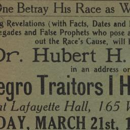 Negro Traitors I Have Known...