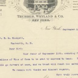 Thurber, Whyland & Co. letter