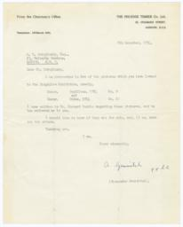 Typed letter from Alexander Gourvitch to M. V. Dobujinsky