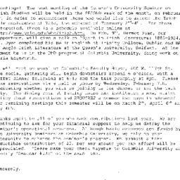 Announcements, 2001-02-09. ...