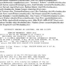 Announcements, 2001-03-28. ...