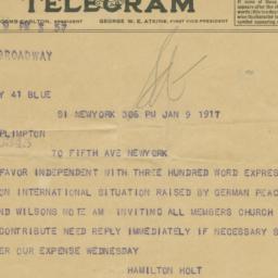 Telegram to George Arthur P...