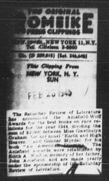 Article on Gunnar Myrdal's Anisfield-Wolf Award for AN AMERICAN DILEMMA, THE SUN, New York, February 28, 1945