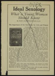 Ideal sexology : what a young woman should know / by Mary Allen Woodward, M.D. [verso]