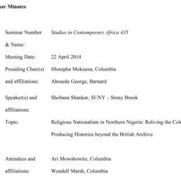 Minutes, 2014-04-22. Studie...
