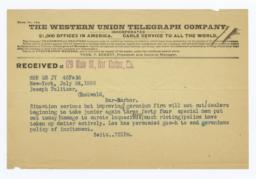 Telegram On The Newsboys' Strike