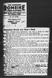 """Article, """"Committee Should Just Read a Book,"""" GREELEY, COLO. TRIBUNE, December 27, 1952"""