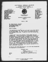 Letter from T. Arnold Hill to Gunnar Myrdal, March 1, 1940