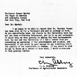 Letter from C.L. Alsberg to...