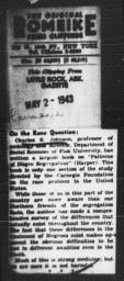 Article regarding Charles S. Johnson's PATTERNS OF NEGRO SEGREGATION, ARKANSAS GAZETTE, May 2, 1943