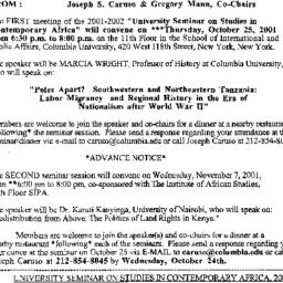 Announcements, 2001-10-25. ...