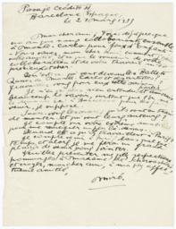 Letter from Joan Miró to Prince Aleksandr Shervashidze