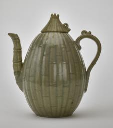 Celadon melon-shaped ewer and lid with bamboo and floral design, Side