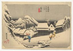 Night Snow at Kanbara, from the series Fifty-three Stations of the Tōkaidō