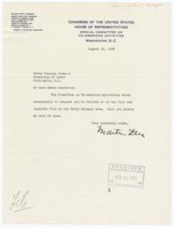 Letter from Martin Dies, Chairman of the Special Committee on Un-American Activities, to Frances Perkins, requesting Harry Bridges case file
