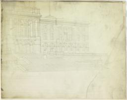 [Design for the Rhode Island State House, Partial Perspective of Front Elevation]