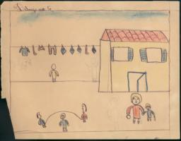 This Drawing Shows My Mother And I Going Shopping And Another Woman Hanging Out The Wash And Some Other Friends Of Mine Skipping Rope.