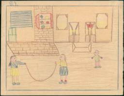 This Scene Shows The Boys And Girls At Play-time And We Played Jump-rope.