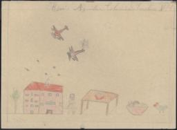 Drawing Of A Girl Outside With Airplanes