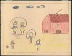 This Drawing Is A House Next To The School And There Are Also Some Girls Skipping Rope.