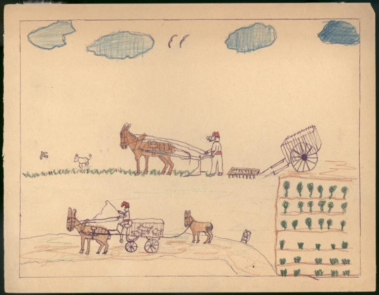 This Drawing Shows Farmers Cultivating The Land
