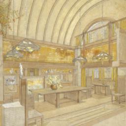 Drawing of dining room, Dan...
