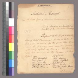 Journal & Rules of the Council of Sachems of Saint Tammany's Society