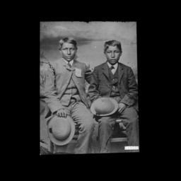 Two Young Boys with Hats We...