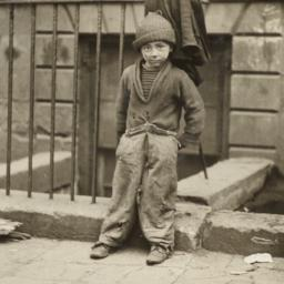 Boy Leaning against Fence
