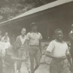 Boys Walking by Cabin