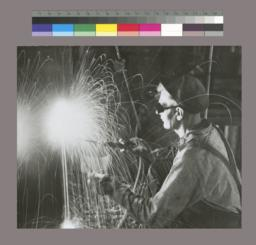 Photograph of welder, Empire State Building