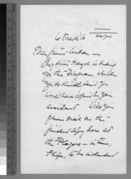 1 hand-written note, 6 March 1916, p. 1