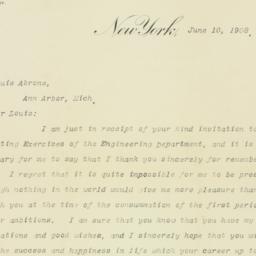 Letter : 1908 June 10