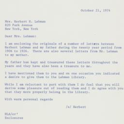 Letter: 1974 October 21