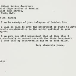 Letter : 1946 October 19
