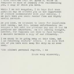 Letter: 1961 February 9