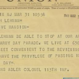 Telegram: 1941 March 31